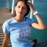 Tee-shirt Femme bleu - rose