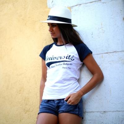 tee shirt baseball femme blanc marine boutique universit nice sophia antipolis. Black Bedroom Furniture Sets. Home Design Ideas