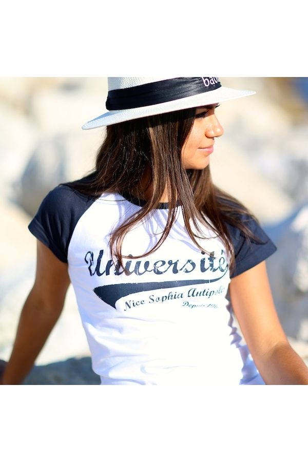 Marine Boutique Baseball Blanc Université Shirt Tee Femme Nice rCBoedxW