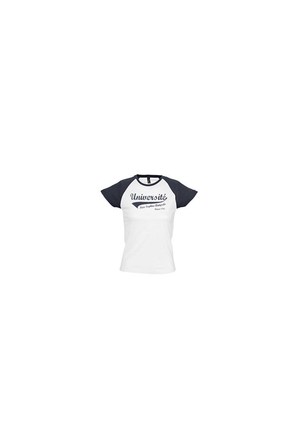 shirt Baseball Tee Nice blanc Femme marine Boutique Université BdSCqwS