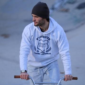 Sweat IUT Gris chiné/ Bleu Homme