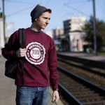 Sweat bordeaux blanc homme