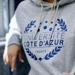 Sweat à capuche Université Côte d'Azur - Coton Bio Gris