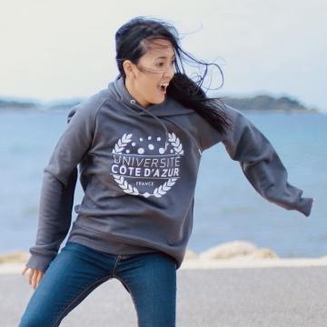 Sweat à capuche Université Côte d'Azur - Coton Bio Gris Anthracite