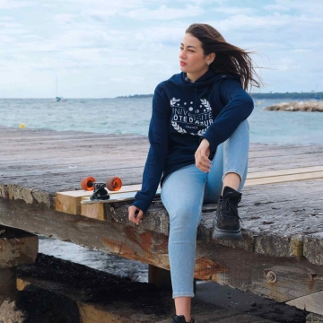 Sweat à capuche Université Côte d'Azur - Navy Coton Bio